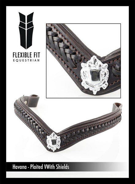 PLAITED WITH SHIELDS V SHAPE - HAVANA BROWBAND - Flexible Fit Equestrian Australia