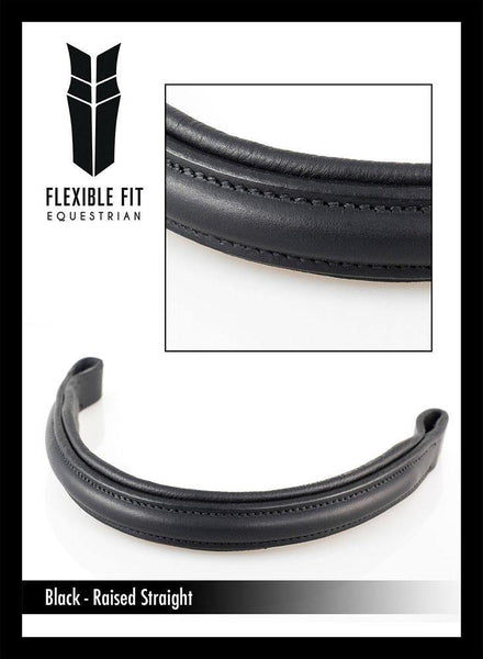 PLAIN RAISED PADDED - BLACK BROWBAND - Flexible Fit Equestrian Australia