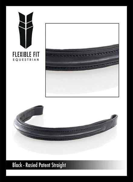 PLAIN RAISED PATENT PADDED- BLACK BROWBAND - Flexible Fit Equestrian Australia