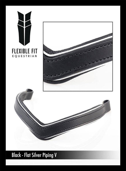PLAIN V WITH SILVER PIPING - BLACK BROWBAND - Flexible Fit Equestrian Australia