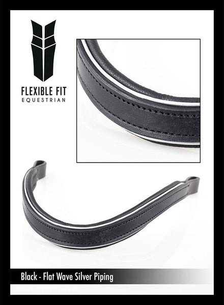 FLAT WAVE SILVER PIPE - BLACK BROWBAND - Flexible Fit Equestrian Australia
