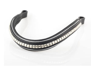 S/S CLINCHER WAVE WITH SILVER PIPING - BLACK BROWBAND - Flexible Fit Equestrian Australia