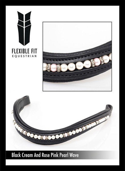 CREAM & ROSE PEARL/CRYSTAL RONDEL WAVE - BLACK BROWBAND - Flexible Fit Equestrian Australia