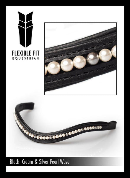 CREAM & STEEL GREY PEARL MID THIN WAVE - BLACK BROWBAND - Flexible Fit Equestrian Australia