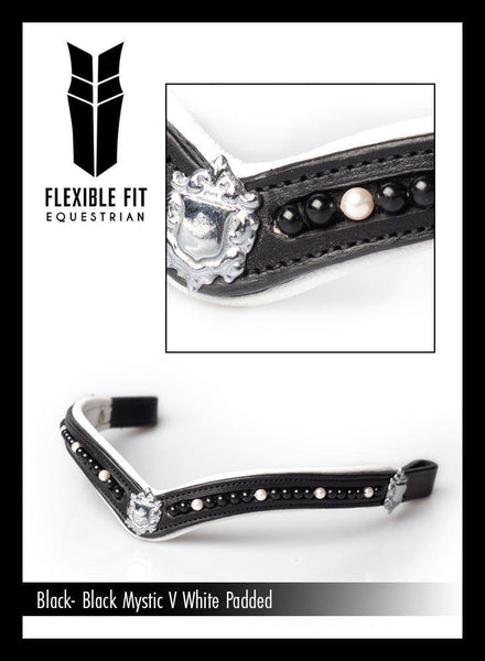 MYSTIC BLACK V WITH SHIELDS WHITE PADDING - BLACK BROWBAND