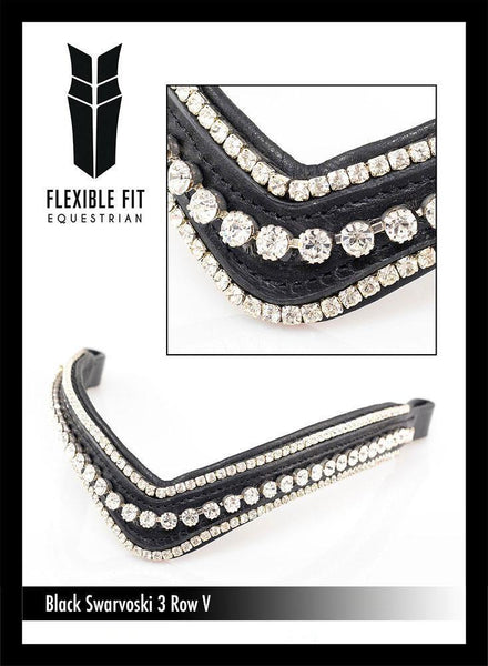 SWAROVSKI TRIPLE ROW V SHAPE - BLACK BROWBAND
