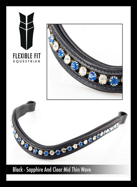 SAPPHIRE/CLEAR MID THIN WAVE - BLACK BROWBAND - Flexible Fit Equestrian Australia