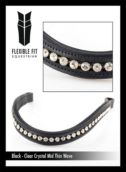 CLEAR CRYSTAL MID THIN WAVE - BLACK BROWBAND - Flexible Fit Equestrian Australia