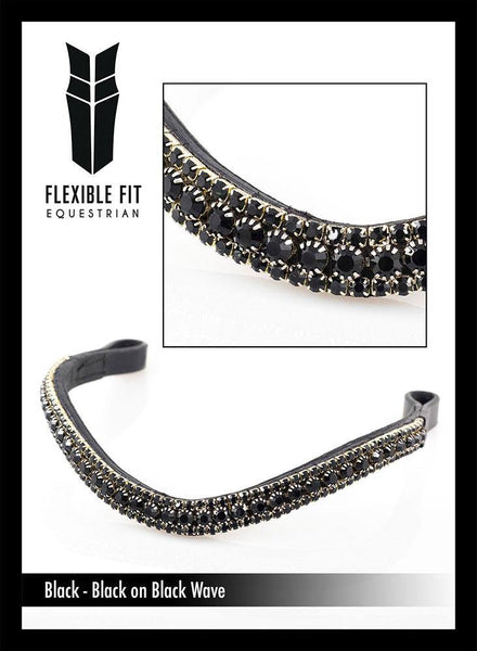 BLACK ON BLACK WAVE - BLACK BROWBAND - Flexible Fit Equestrian Australia