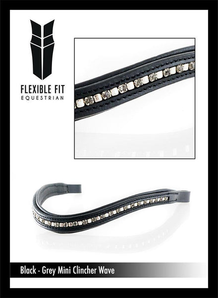 MINI CLINCHER GREY CRYSTAL WAVE - BLACK BROWBAND - Flexible Fit Equestrian Australia