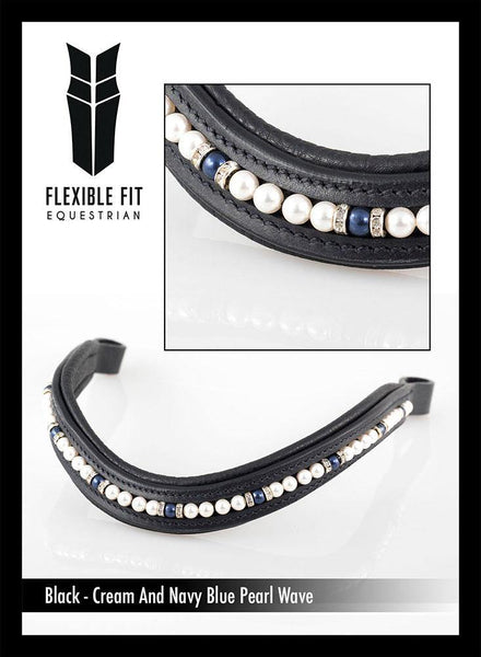 CREAM AND BLUE PEARL WAVE - BLACK BROWBAND - Flexible Fit Equestrian Australia