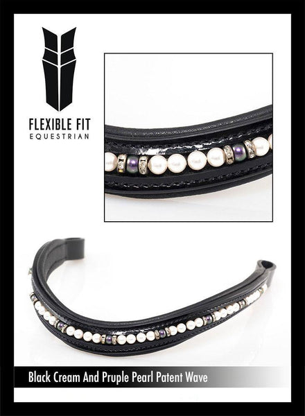 PATENT CREAM AND PURPLE PEARL WAVE - BLACK BROWBAND - Flexible Fit Equestrian Australia