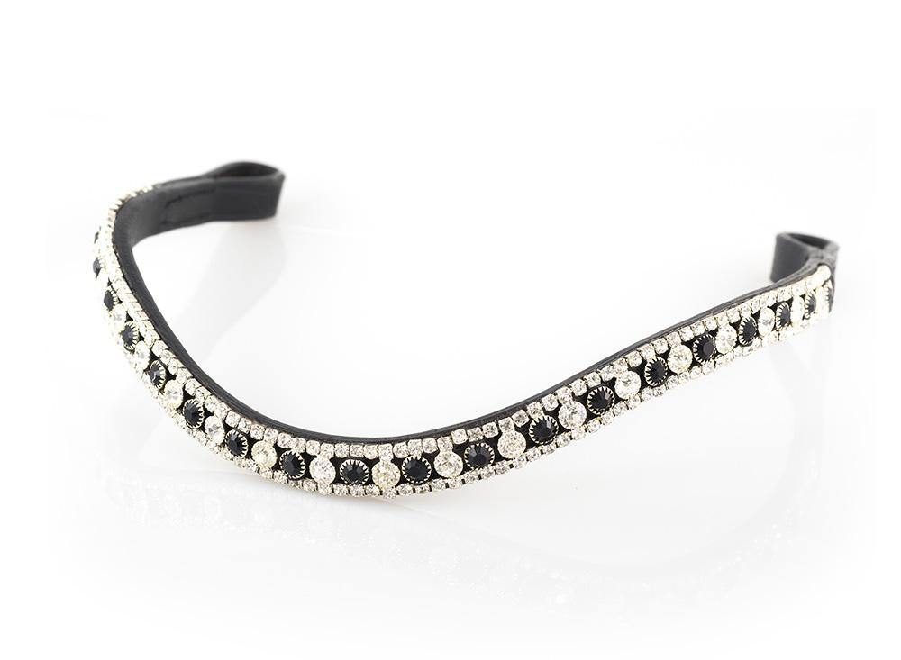 BLACK AND CLEAR THIN CRYSTAL WAVE - BLACK BROWBAND