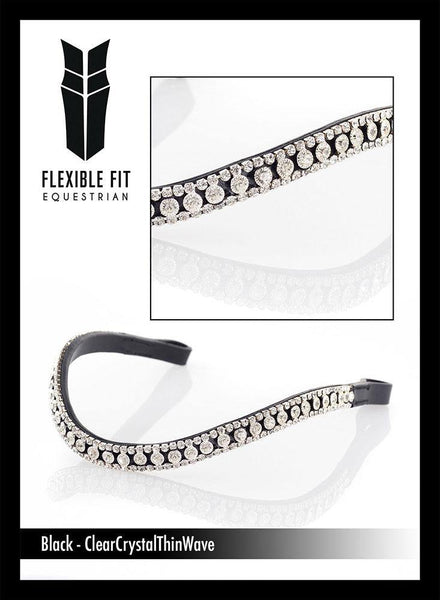 CLEAR THIN CRYSTAL WAVE - BLACK BROWBAND - Flexible Fit Equestrian Australia