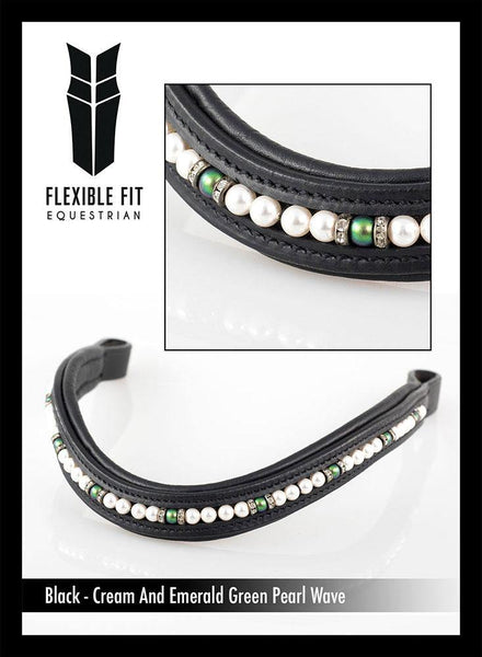 CREAM AND EMERALD PEARL WAVE - BLACK BROWBAND - Flexible Fit Equestrian Australia