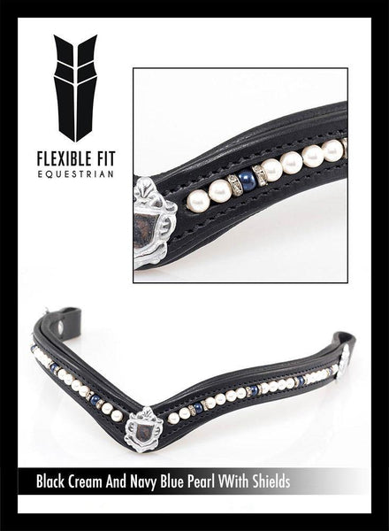CREAM AND NAVY BLUE PEARL V WITH SHIELDS - BLACK BROWBAND