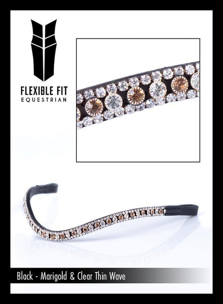 MARIGOLD AND CLEAR CRYSTAL THIN WAVE - BLACK BROWBAND - Flexible Fit Equestrian Australia