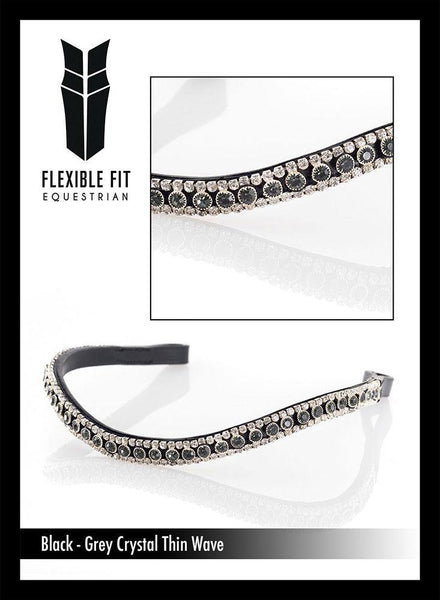 MAIN GREY AND CLEAR THIN CRYSTAL WAVE - BLACK BROWBAND - Flexible Fit Equestrian Australia