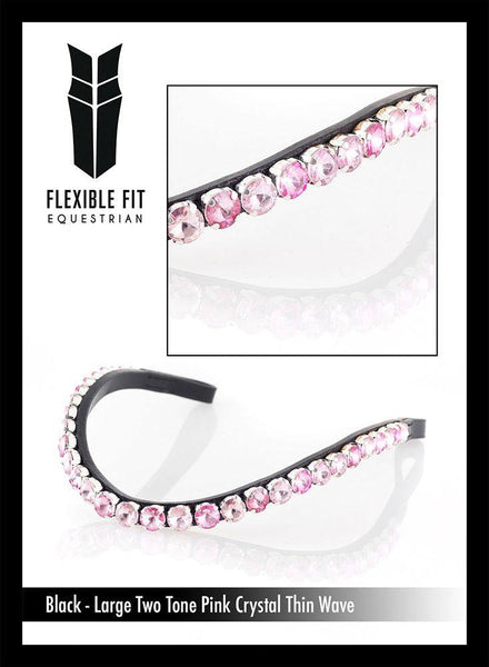 LARGE TWO TONE PINK CRYSTAL THIN WAVE - BLACK BROWBAND - Flexible Fit Equestrian Australia