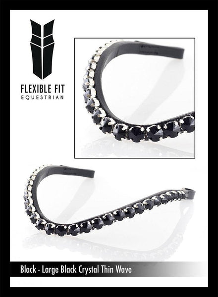 LARGE BLACK CRYSTAL THIN WAVE- BLACK BROWBAND