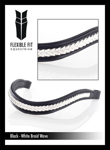 WHITE BRAIDED WAVE - BLACK BROWBAND