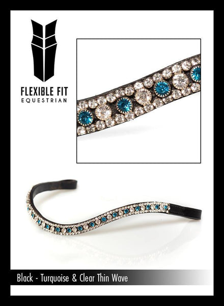 TURQUOISE AND CLEAR THIN CRYSTAL WAVE - BLACK BROWBAND