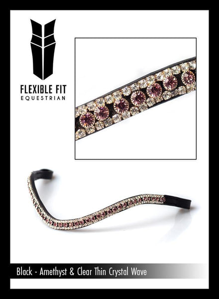 AMETHYST AND CLEAR THIN WAVE - BLACK BROWBAND - Flexible Fit Equestrian Australia