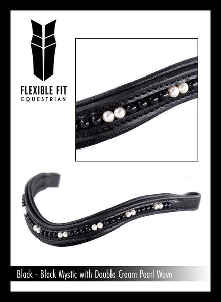 BLACK MYSTIC WITH DOUBLE CREAM PEARL WAVE - BLACK BROWBAND