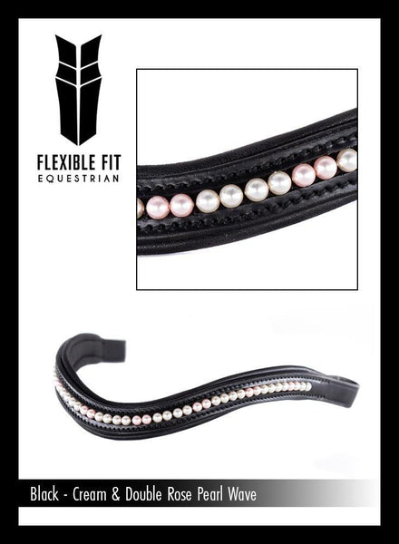 CREAM AND DOUBLE ROSE PEARL WAVE - BLACK BROWBAND