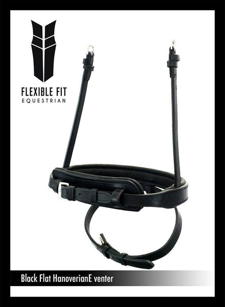 STRAIGHT FLAT PLAIN HANOVERIAN EVENTER - BLACK NOSEBAND - Flexible Fit Equestrian Australia