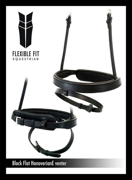 STRAIGHT FLAT PLAIN HANOVERIAN EVENTER - BLACK NOSEBAND