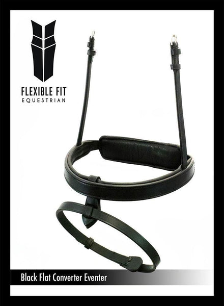 STRAIGHT FLAT PLAIN CONVERTER EVENTER - BLACK SNAFFLE/DOUBLE NOSEBAND