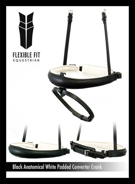 ANATOMICAL RAISED WHITE PADDED CONVERTER CRANK - BLACK SNAFFLE/DOUBLE NOSEBAND - Flexible Fit Equestrian Australia