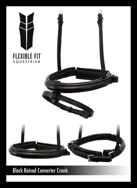 STRAIGHT RAISED PLAIN CONVERTER CRANK - BLACK SNAFFLE/DOUBLE NOSEBAND - Flexible Fit Equestrian Australia