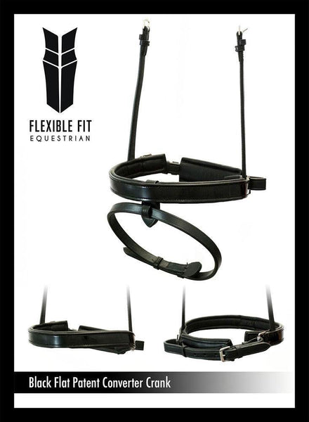 STRAIGHT FLAT PATENT CONVERTER CRANK - BLACK SNAFFLE/DOUBLE NOSEBAND - Flexible Fit Equestrian Australia
