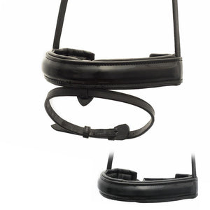 EXTRA WIDE STRAIGHT RAISED PATENT CONVERTER CRANK - BLACK SNAFFLE/DOUBLE NOSEBAND - Flexible Fit Equestrian Australia