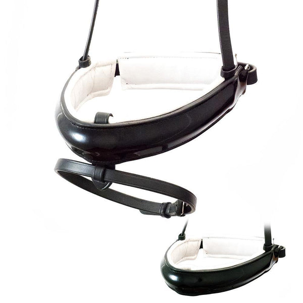 EXTRA WIDE STRAIGHT RAISED PATENT WHITE PADDED CONVERTER CRANK - BLACK SNAFFLE/DOUBLE NOSEBAND