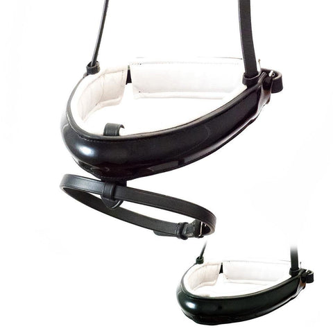 EXTRA WIDE STRAIGHT RAISED PATENT WHITE PADDED CONVERTER CRANK - BLACK NOSEBAND
