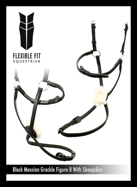 FIGURE 8 WITH SHEEPSKIN - BLACK NOSEBAND - Flexible Fit Equestrian Australia