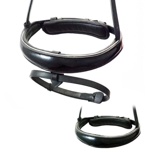 ANATOMICAL RAISED PATENT SILVER PIPE EVENTER CONVERTER - BLACK SNAFFLE/DOUBLE NOSEBAND - Flexible Fit Equestrian Australia