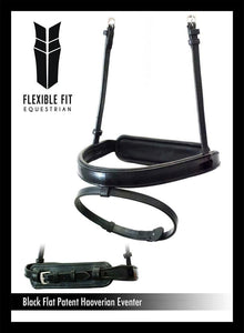 STRAIGHT FLAT PATENT HANOVERIAN EVENTER - BLACK NOSEBAND - Flexible Fit Equestrian Australia