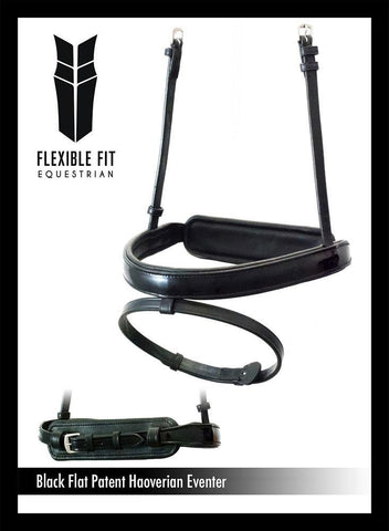 STRAIGHT FLAT PATENT HANOVERIAN EVENTER - BLACK NOSEBAND