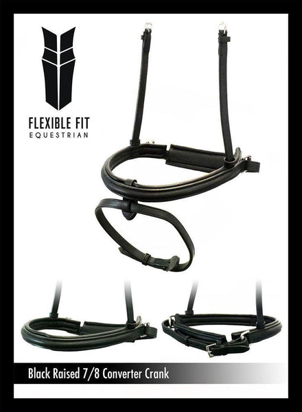 STRAIGHT RAISED 7/8 WIDE CONVERTER CRANK - BLACK SNAFFLE/DOUBLE NOSEBAND - Flexible Fit Equestrian Australia