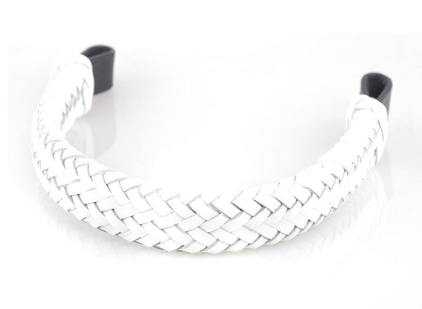 WHITE PATENT PLAITED 1 INCH - BLACK BROWBAND