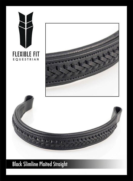 AMANDA PLAITED STRAIGHT - BLACK BROWBAND - Flexible Fit Equestrian Australia