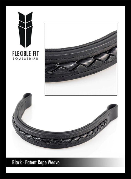 BLACK PATENT ROPE PLAITED - BLACK BROWBAND - Flexible Fit Equestrian Australia