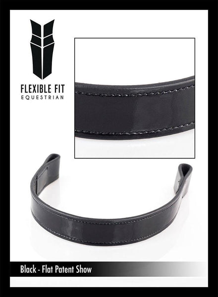 SHOW PATENT PLAIN - BLACK BROWBAND - Flexible Fit Equestrian Australia