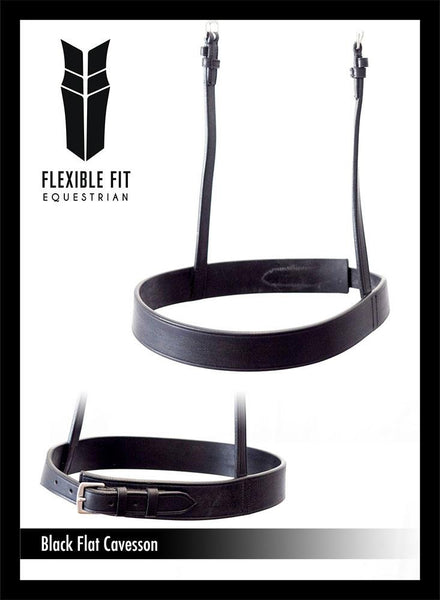 STRAIGHT FLAT PLAIN SHOW CAVESSON - BLACK NOSEBAND