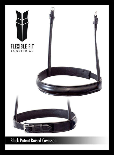 STRAIGHT RAISED PATENT SHOW CAVESSON - BLACK NOSEBAND - Flexible Fit Equestrian Australia