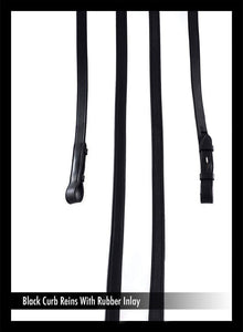 CURB REINS WITH RUBBER BACKING BLACK REINS